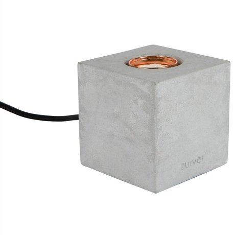 Zuiver Tafellamp Bolch beton grijs 8,5x8,5x8,5cm