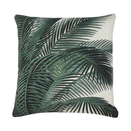 HK-living Sierkussen palm bladeren groen wit katoen 45x45cm