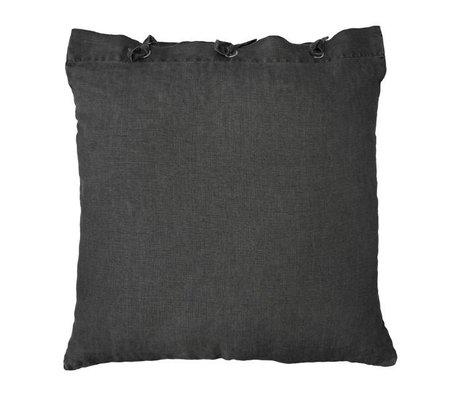HK-living Sierkussen donker grijs linnen metaal 50x50cm