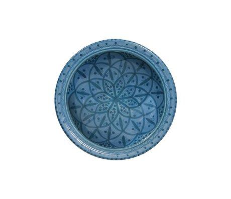 HK-living Schaal souk medium A blauw aardewerk 22x22x6cm