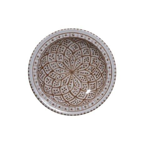 HK-living Schaal souk medium D grijs bruin aardewerk 22x22x6cm