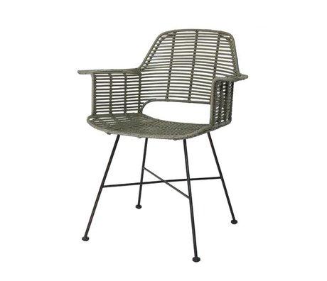 HK-living Kuip stoel rotan olijf groen met zwart metalen frame 67x55x83cm