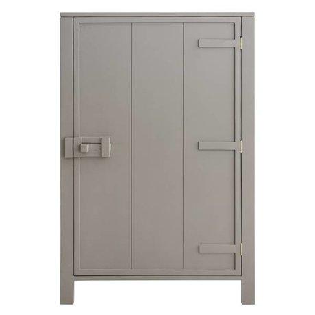 HK-living Kast met enkele deur hout taupe bruin 81x36x122cm
