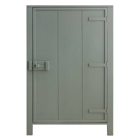 HK-living Kast met enkele deur hout leger groen 81x36x122cm