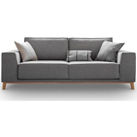 I-Sofa Bank Miles grijs textiel hout 222x102x87cm