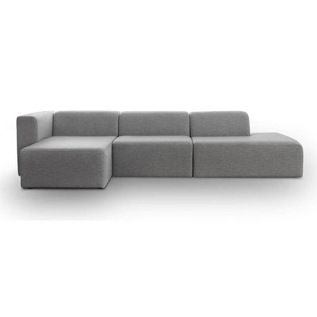 I-Sofa Hoekbank links Omni licht grijs textiel 318x140x70cm