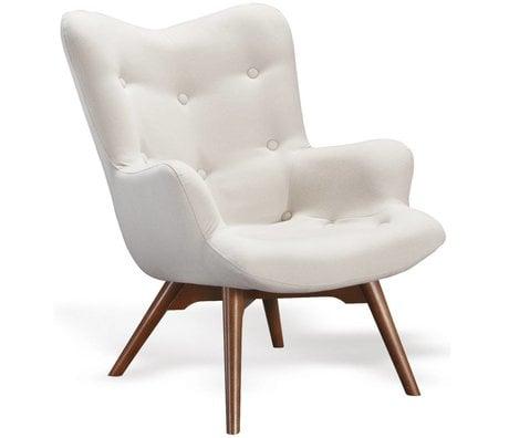 I-Sofa Fauteuil Vida crème wit textiel hout 84x71x88cm