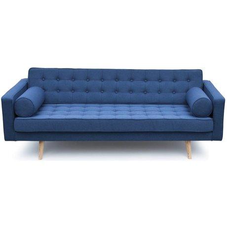 I-Sofa Bank Milan blauw textiel hout 200x90x73cm