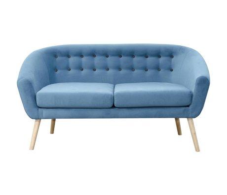 I-Sofa Bank Vera blauw textiel hout 148x67x76cm
