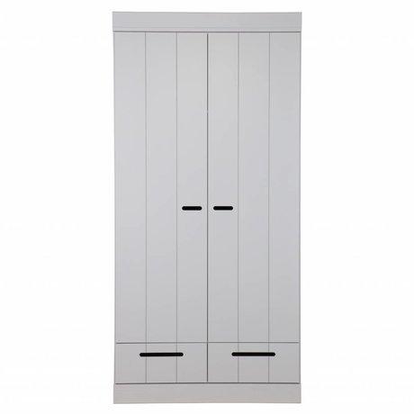 LEF collections Kledingkast Connect 2 deurs strokendeur met lades beton grijs grenen 195X94X53cm
