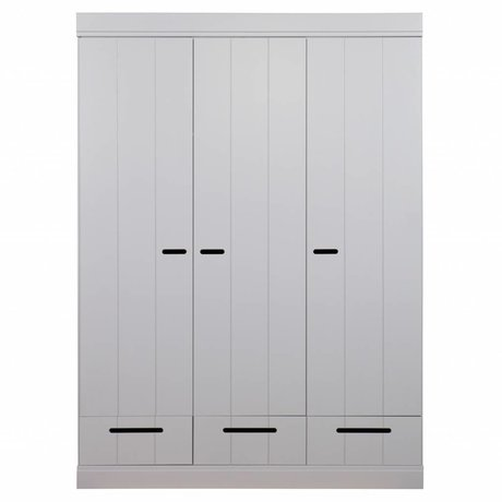 LEF collections Kledingkast Connect 3 deurs strokendeur met lades beton grijs grenen 195X140X53cm