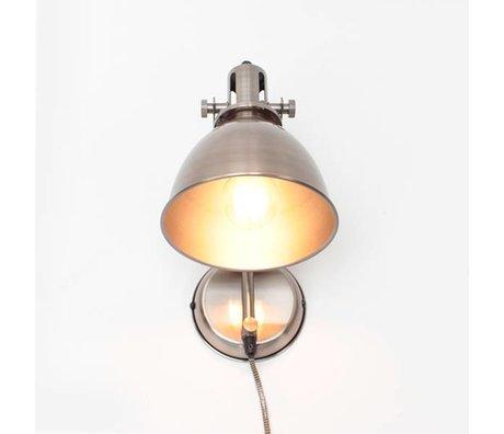 LEF collections Wandlamp Spot antiek zilver grijs metaal 17x30x41cm