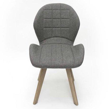 LEF collections Eetkamerstoel Fly grijs textiel 59x60x87,5cm
