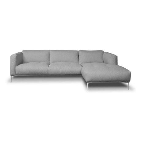I-Sofa Hoekbank Oliver grijs textiel 251x85x74cm