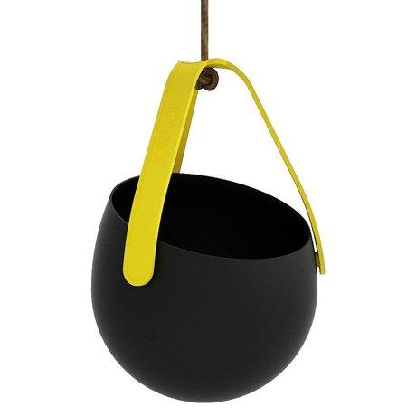 Plantenhanger Sling zwart geel kunststof Ø18x18cm