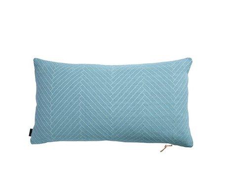OYOY Sierkussen Fluffy Herringbone blauw katoen 40x70cm