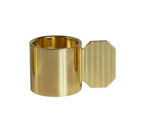OYOY Kandelaar ART HEXAGON brass goud metaal ⌀7,6x4,3cm
