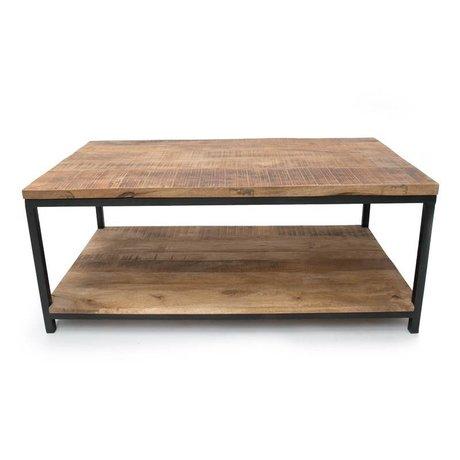 LEF collections Salontafel Industrieel bruin zwart hout metaal 110x60x46cm