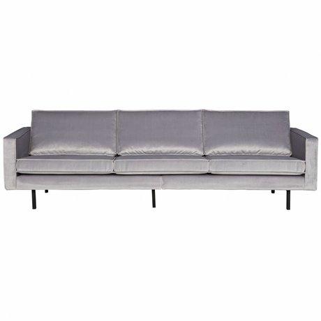 BePureHome Bank Rodeo 3-zits licht grijs fluweel velvet 85x277x86cm