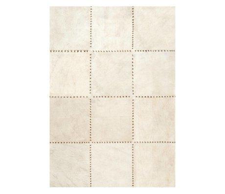 LEF collections Vloerkleed Canvas beige bruin canvas leer in 3 maten