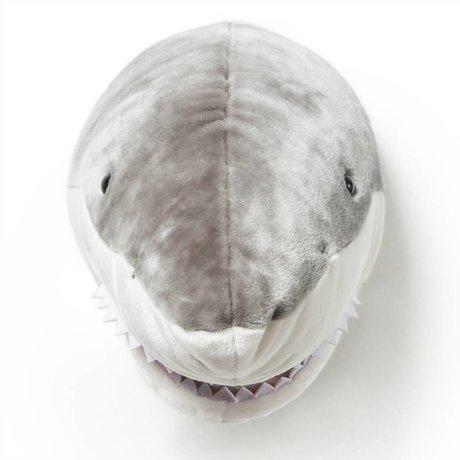 Wild and Soft Dierenkop haai Jack grijs textiel 35x25x25cm