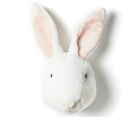 Wild and Soft Dierenkop konijn Alice wit textiel 30x25x45cm