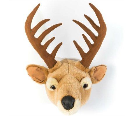 Wild and Soft Dierenkop hert Billy bruin textiel 30x39x41cm
