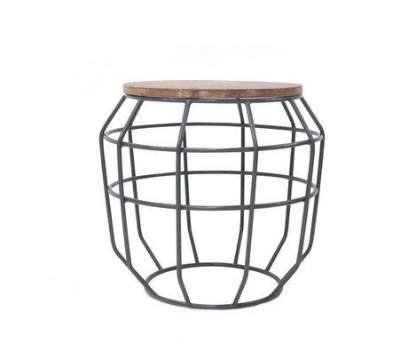 LEF collections Salontafel Pixel grijs metaal hout 51x51x46cm