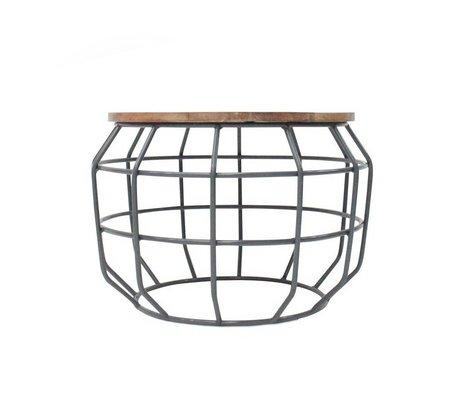 LEF collections Salontafel Pixel grijs metaal hout 56x56x38cm