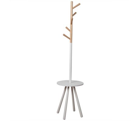 Zuiver Kapstok Rack table tree white, hout wit 179xØ40cm