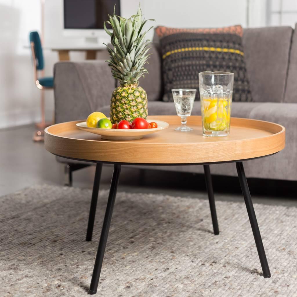 Bijzettafel Houten Blad.Zuiver Bijzettafel Coffee Table Oak Tray Hout O78x45cm Lefliving Be