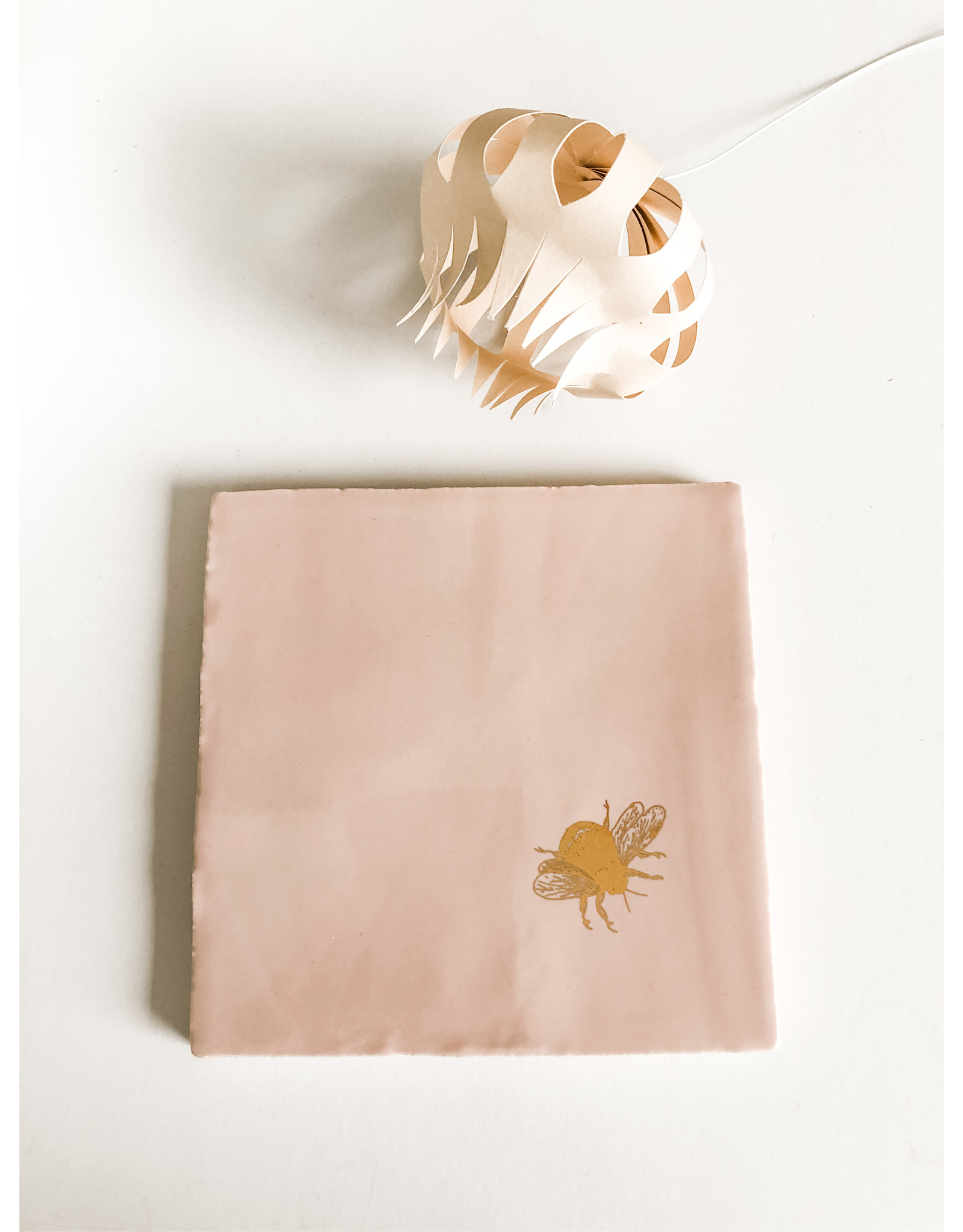 In My Dreams Design Tegeltje roze/goud