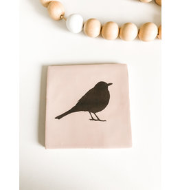 In My Dreams Design Tegeltje roze/zwart vogel