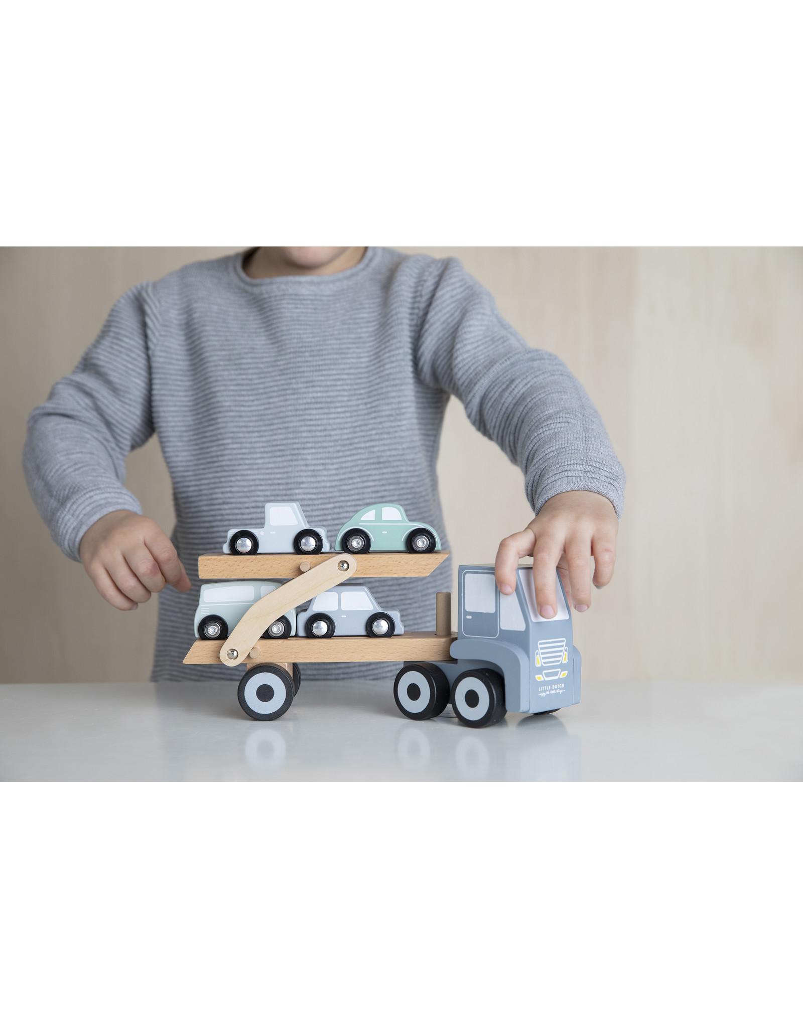 Little Dutch Houten truck - transporter- 4 losse autootjes