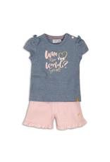 Dirkje T-shirt & short - roze/blauw - 35C-34230