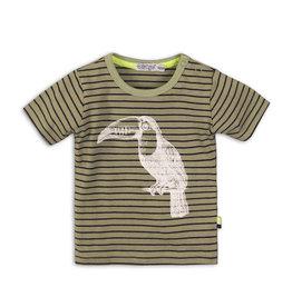 Dirkje T-shirt streep  - legergroen
