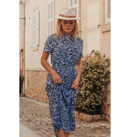 Colourful Rebel Dalia zebra maxi shirt dress lt blue