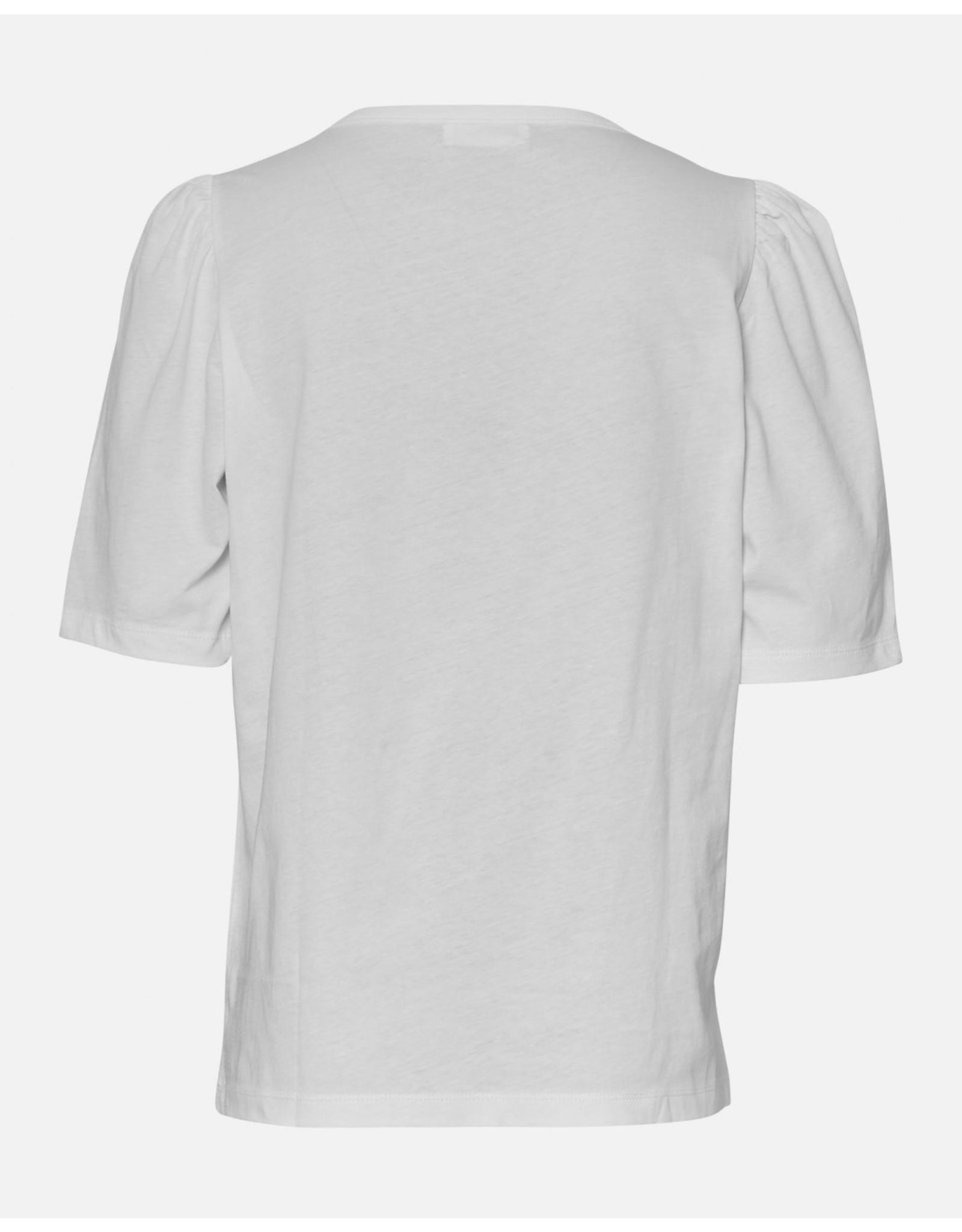 Moss Copenhagen - MSCH T-shirt - Mo Alva Puff Tee - white pepper