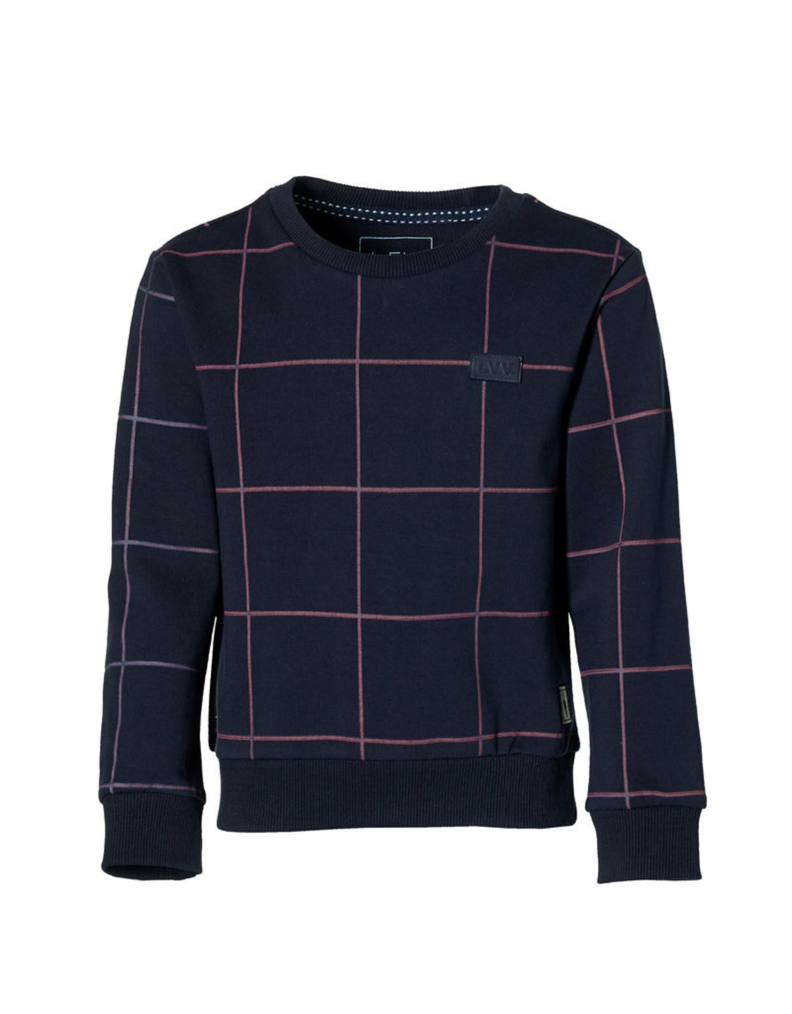 Levv Sweater Leo - donkerblauw grid