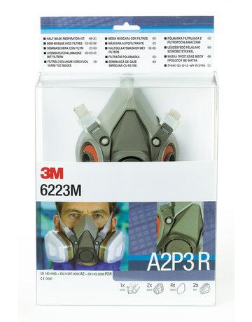 3M 3M 6223M starterskit voor halfgelaatsmaskers met A2-P3 R filtercombinatie