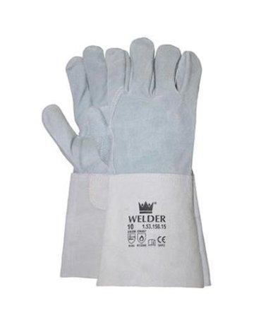 Lashandschoen van grijs splitleder