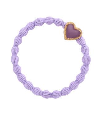 ByEloise ByEloise : Paarse armband met paars en gouden hart