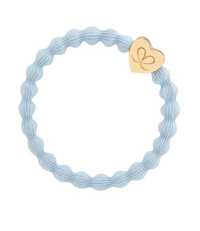 ByEloise ByEloise : Lichtblauwe armband met gouden hart