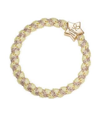 ByEloise ByEloise : Gele gewoven armband met gouden ster