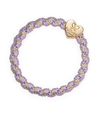 ByEloise ByEloise : Paarse gewoven armband met gouden hart