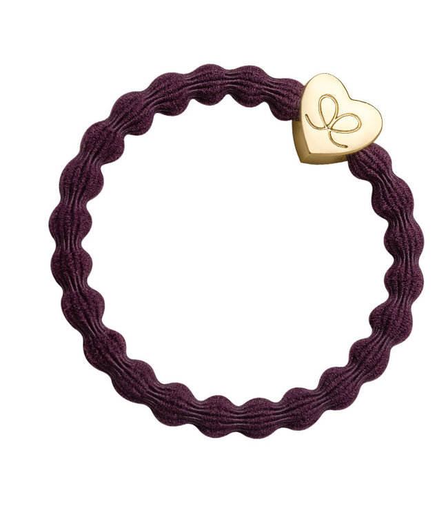 ByEloise ByEloise : Donkerpaarse armband met gouden hart