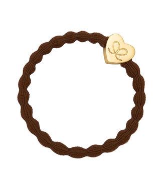 ByEloise ByEloise : Bruine armband met gouden hart