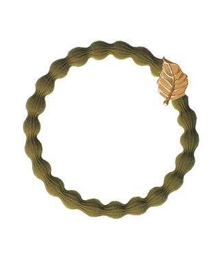 ByEloise ByEloise : Khaki armband met gouden blad