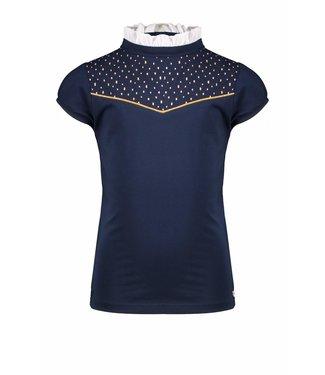 Nono Nono : Blauwe T-shirt met opstaand kraagje
