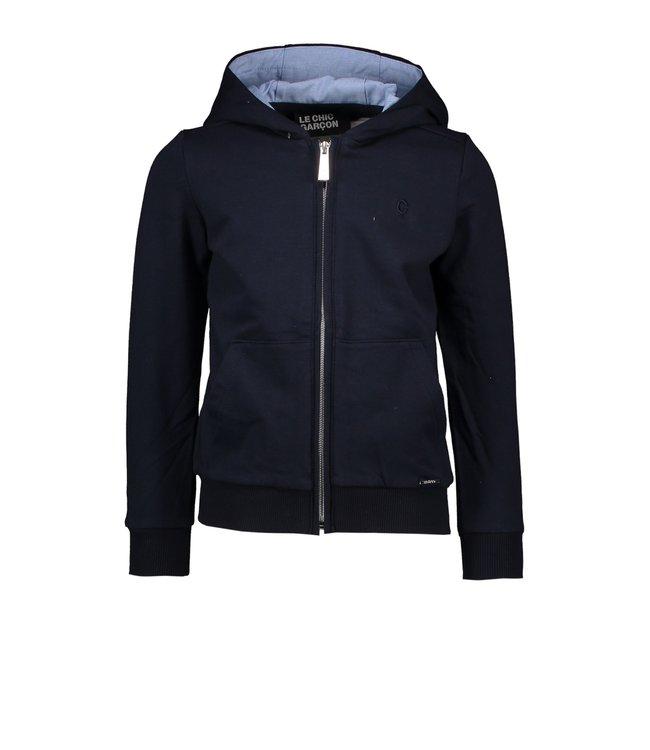 Le chic garçon Le chic garçon : Blauwe hoodie met rits